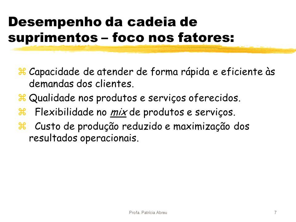 Profa. Patrícia Abreu7 Desempenho da cadeia de suprimentos – foco nos fatores: zCapacidade de atender de forma rápida e eficiente às demandas dos clie