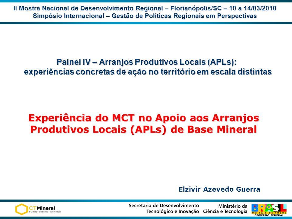 II Mostra Nacional de Desenvolvimento Regional – Florianópolis/SC – 10 a 14/03/2010 Simpósio Internacional – Gestão de Políticas Regionais em Perspect
