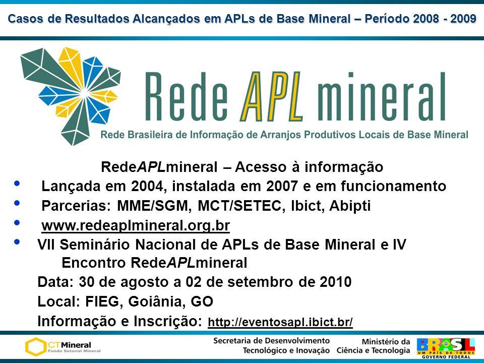Casos de Resultados Alcançadosem APLs de Base Mineral – Período 2008 - 2009 Casos de Resultados Alcançados em APLs de Base Mineral – Período 2008 - 20