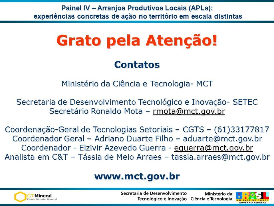 Grato pela Atenção! Contatos Ministério da Ciência e Tecnologia- MCT Secretaria de Desenvolvimento Tecnológico e Inovação- SETEC Secretário Ronaldo Mo