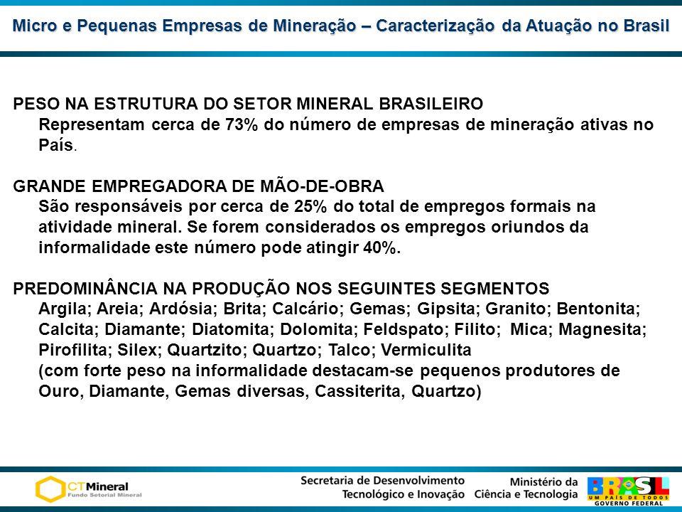 Micro e Pequenas Empresas de Mineração– Caracterização da Atuação no Brasil Micro e Pequenas Empresas de Mineração – Caracterização da Atuação no Bras