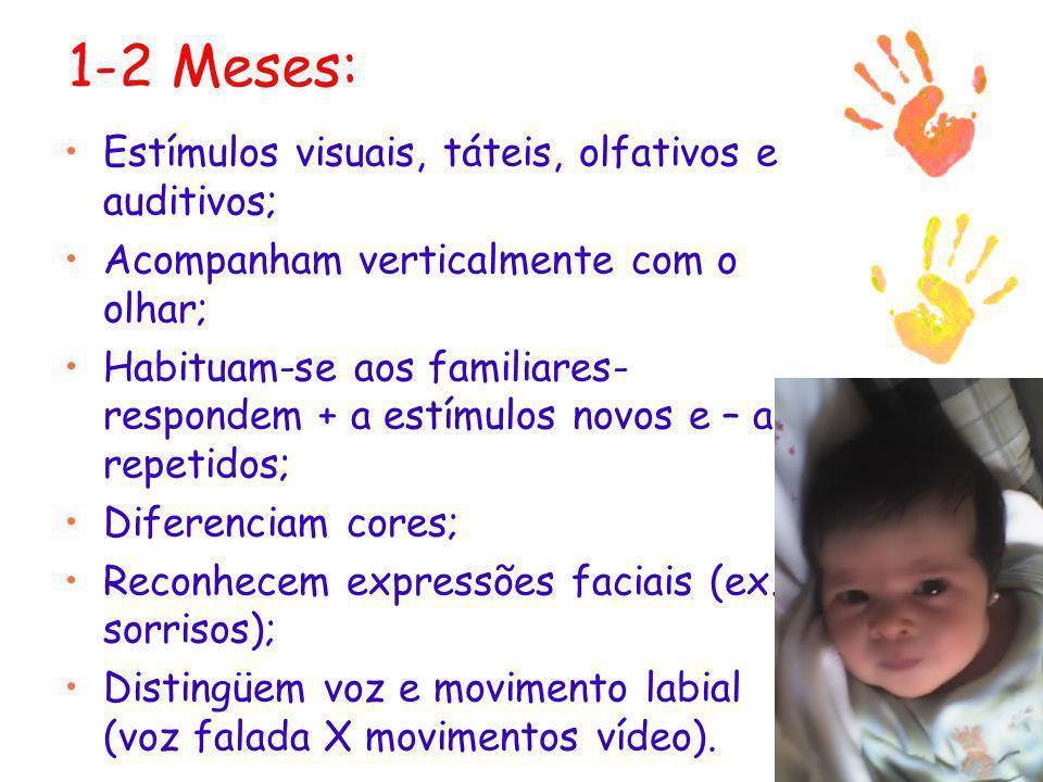 1-2 Meses: Estímulos visuais, táteis, olfativos e auditivos; Acompanham verticalmente com o olhar; Habituam-se aos familiares- respondem + a estímulos