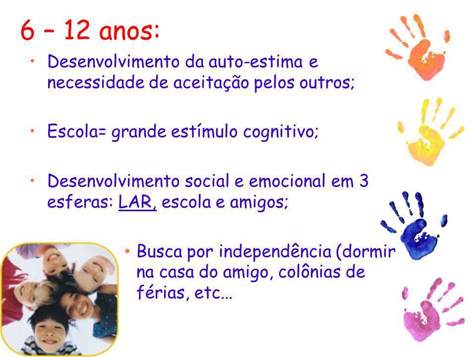 6 – 12 anos: Desenvolvimento da auto-estima e necessidade de aceitação pelos outros; Escola= grande estímulo cognitivo; Desenvolvimento social e emoci