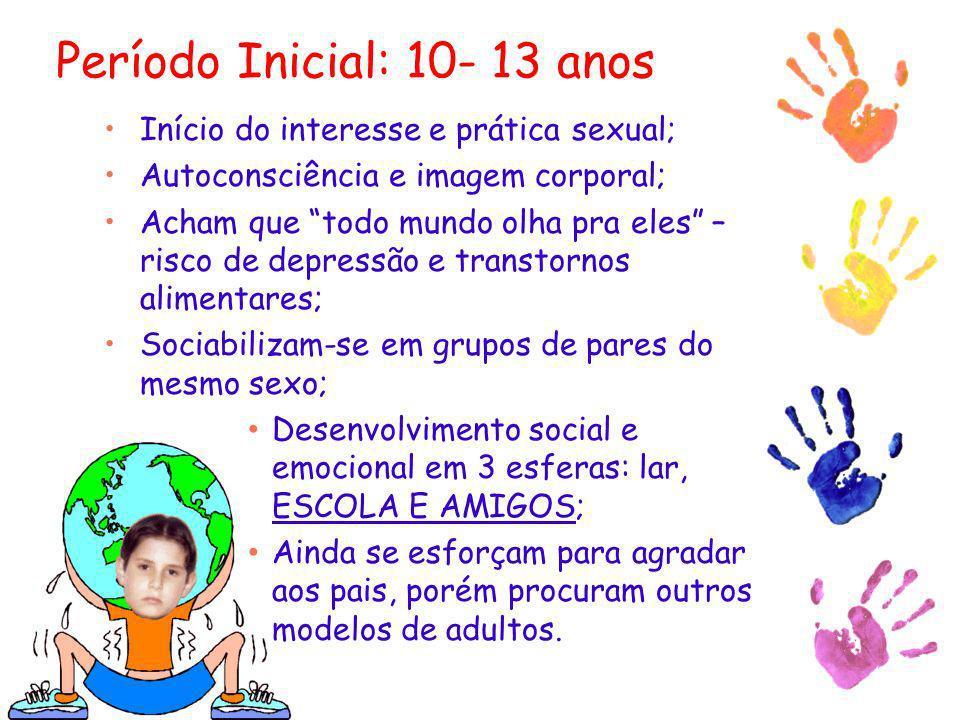 Período Inicial: 10- 13 anos Início do interesse e prática sexual; Autoconsciência e imagem corporal; Acham que todo mundo olha pra eles – risco de de
