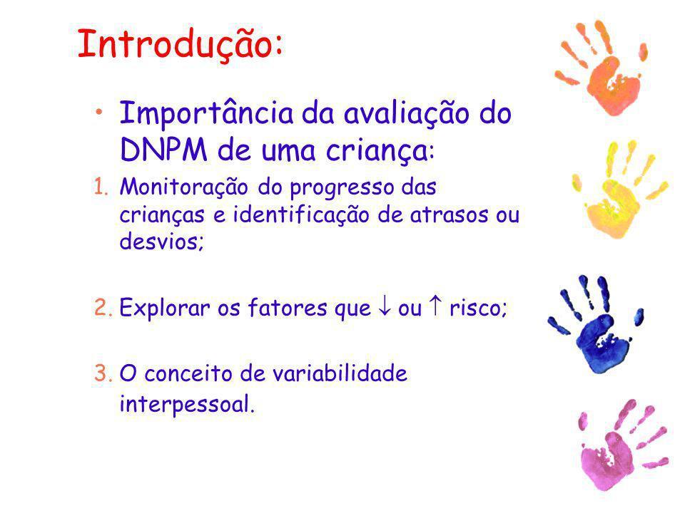 Introdução: Importância da avaliação do DNPM de uma criança : 1.Monitoração do progresso das crianças e identificação de atrasos ou desvios; 2.Explora