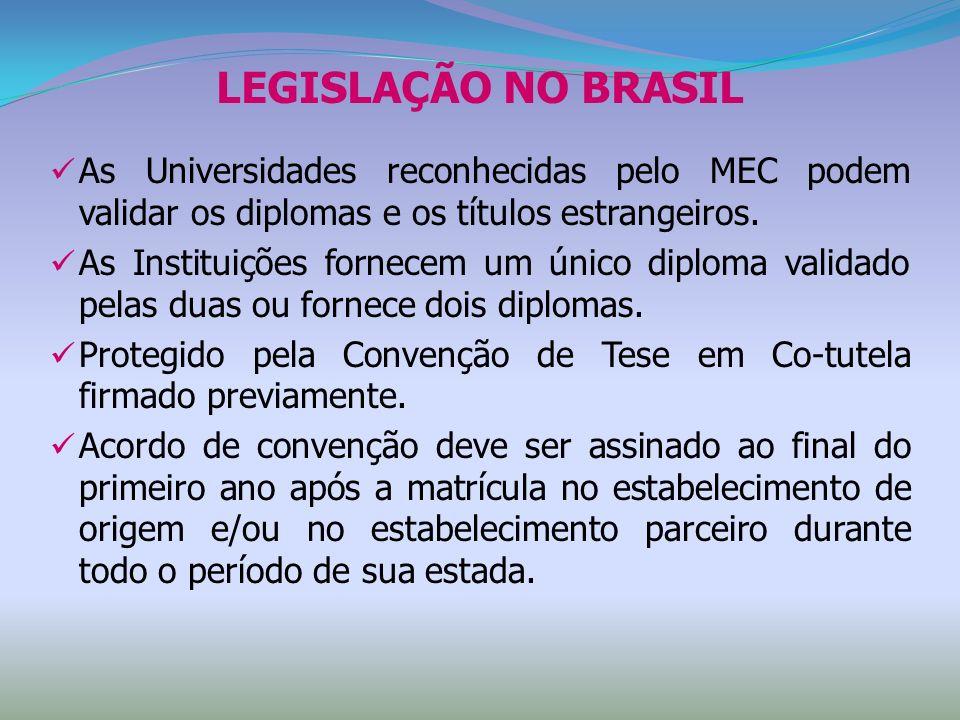 LEGISLAÇÃO NO BRASIL As Universidades reconhecidas pelo MEC podem validar os diplomas e os títulos estrangeiros. As Instituições fornecem um único dip