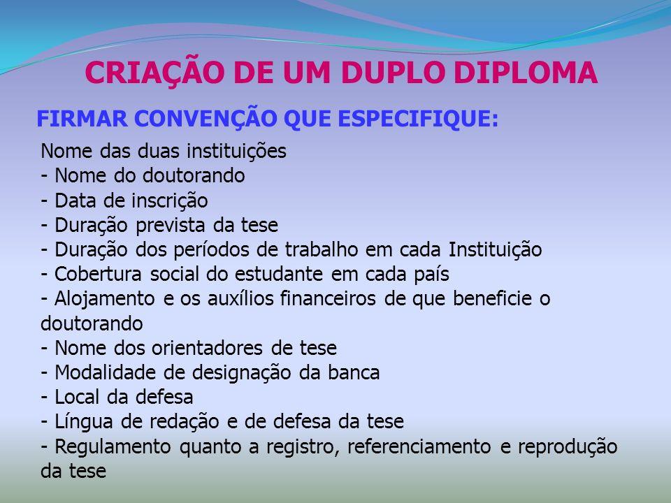 CRIAÇÃO DE UM DUPLO DIPLOMA FIRMAR CONVENÇÃO QUE ESPECIFIQUE: Nome das duas instituições - Nome do doutorando - Data de inscrição - Duração prevista d