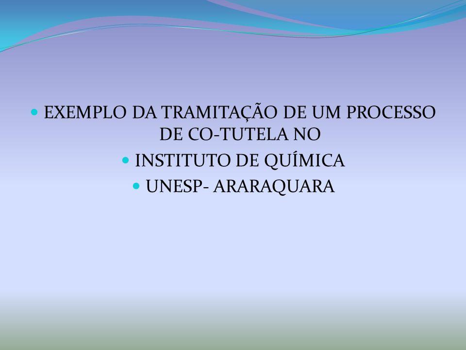 EXEMPLO DA TRAMITAÇÃO DE UM PROCESSO DE CO-TUTELA NO INSTITUTO DE QUÍMICA UNESP- ARARAQUARA