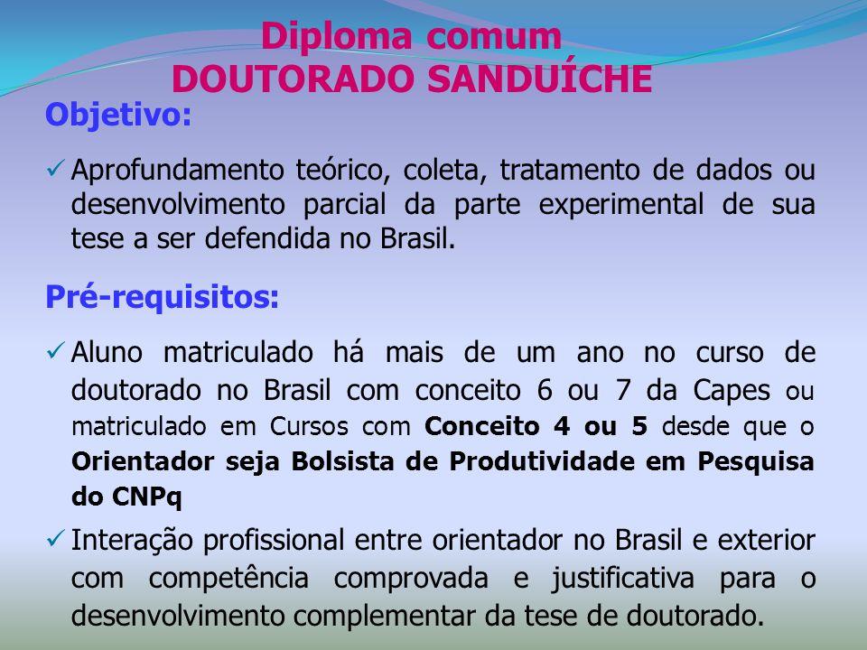 Diploma comum DOUTORADO SANDUÍCHE Objetivo: Aprofundamento teórico, coleta, tratamento de dados ou desenvolvimento parcial da parte experimental de su