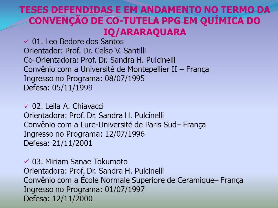 TESES DEFENDIDAS E EM ANDAMENTO NO TERMO DA CONVENÇÃO DE CO-TUTELA PPG EM QUÍMICA DO IQ/ARARAQUARA 01. Leo Bedore dos Santos Orientador: Prof. Dr. Cel