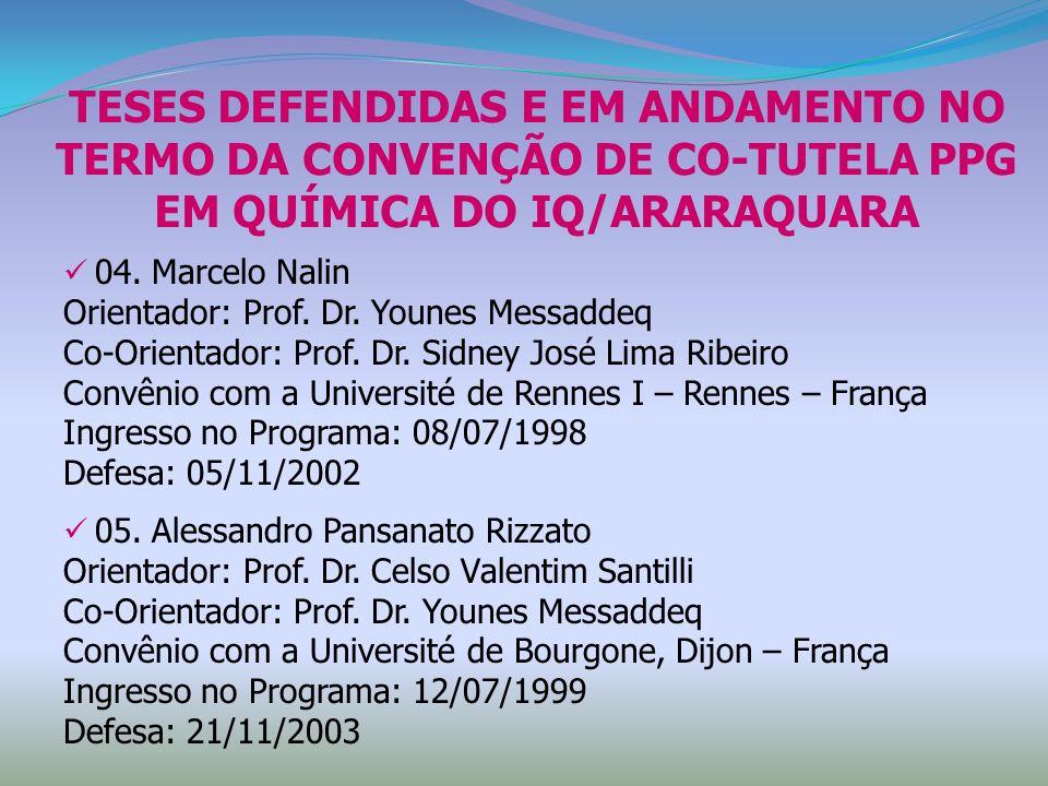 TESES DEFENDIDAS E EM ANDAMENTO NO TERMO DA CONVENÇÃO DE CO-TUTELA PPG EM QUÍMICA DO IQ/ARARAQUARA 04. Marcelo Nalin Orientador: Prof. Dr. Younes Mess