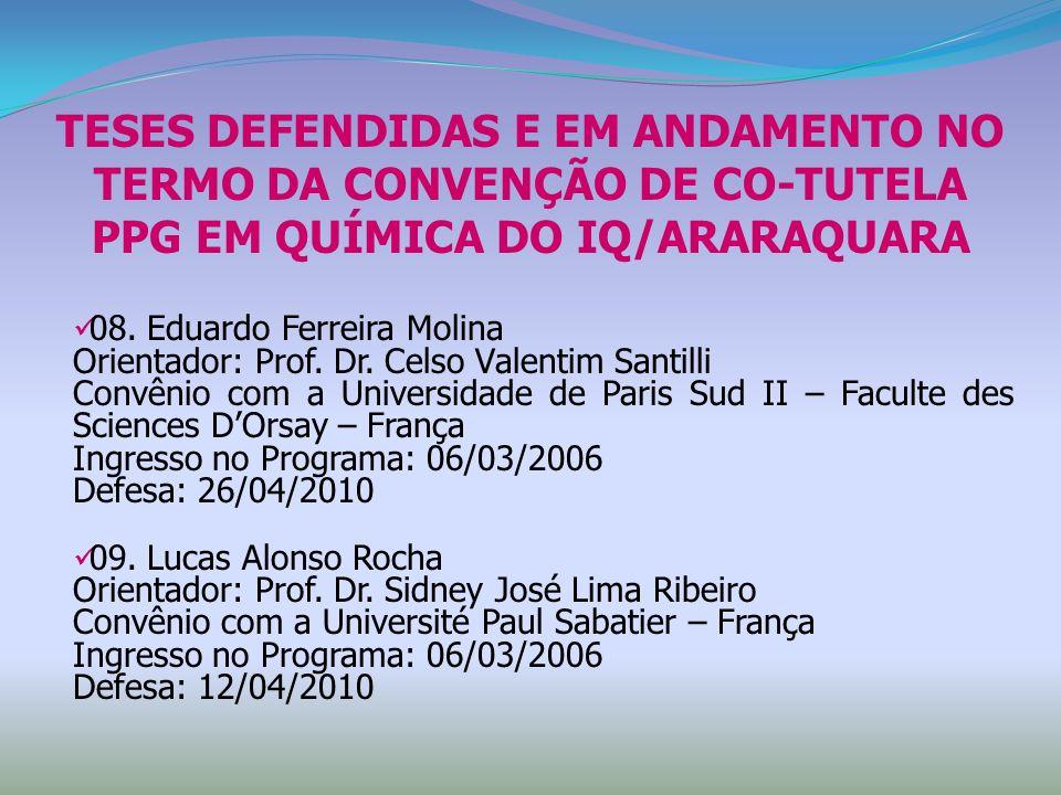 08. Eduardo Ferreira Molina Orientador: Prof. Dr. Celso Valentim Santilli Convênio com a Universidade de Paris Sud II – Faculte des Sciences DOrsay –