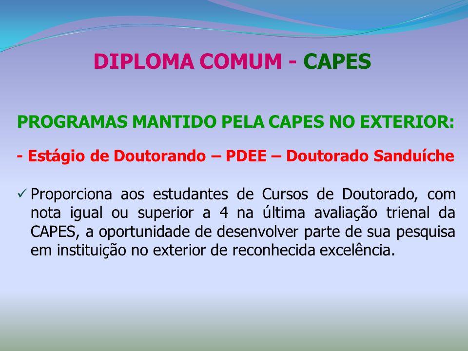 DIPLOMA COMUM - CAPES PROGRAMAS MANTIDO PELA CAPES NO EXTERIOR: - Estágio de Doutorando – PDEE – Doutorado Sanduíche Proporciona aos estudantes de Cur