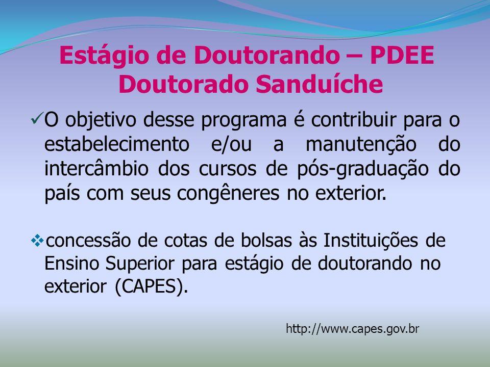 Estágio de Doutorando – PDEE Doutorado Sanduíche O objetivo desse programa é contribuir para o estabelecimento e/ou a manutenção do intercâmbio dos cu