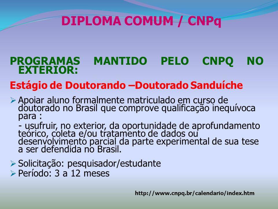 Solicitação do Estágio de Doutorando Doutorado Sanduíche - CNPq estar formalmente matriculado em Curso de Doutorado no Brasil com Conceito 6 ou 7 da Capes; ou matriculado em Cursos com Conceito 4 ou 5 desde que o Orientador seja Bolsista de Produtividade em Pesquisa do CNPq; estar matriculado há mais de um ano no Curso de Doutorado; ser bolsista do CNPq ou da CAPES; ter conhecimento do idioma utilizado na Instituição de destino; ter anuência do Coordenador do Curso e dos Orientadores no País e no Exterior.