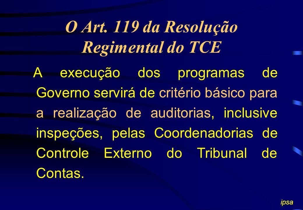 O Art. 135 do Regimento do TCE Realizar auditorias com a finalidade de:... III - acompanhar a execução dos planos, programas e projetos das unidades,