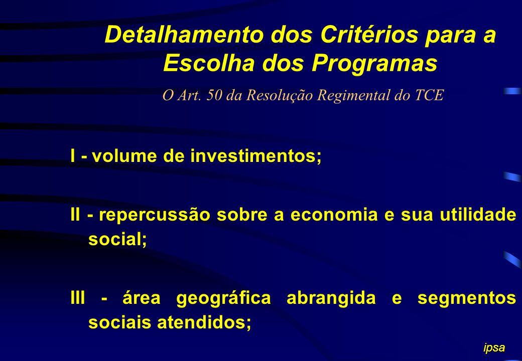 Critérios para Seleção dos Programas (O Art. 136, parágrafo único do Regimento do TCE) O plano anual de auditoria deverá dar preferência aos programas