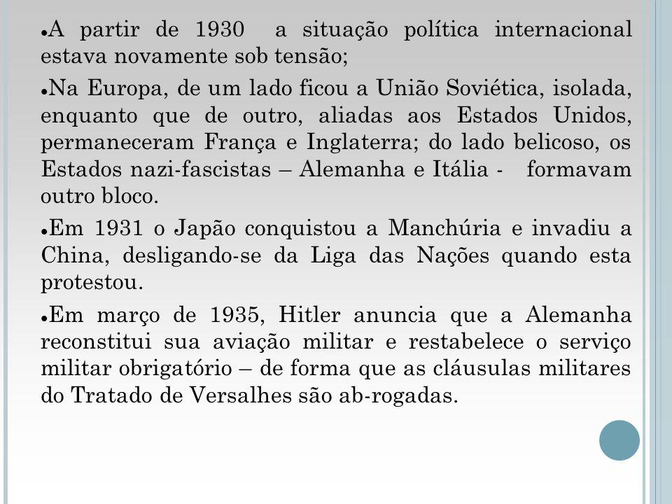 A partir de 1930 a situação política internacional estava novamente sob tensão; Na Europa, de um lado ficou a União Soviética, isolada, enquanto que d