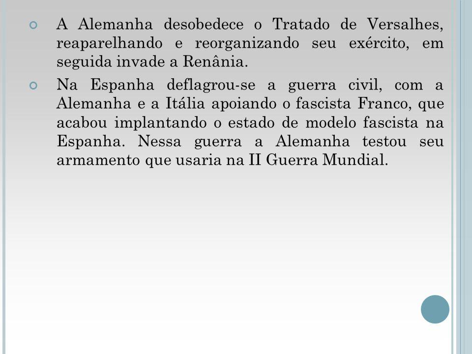 A Alemanha desobedece o Tratado de Versalhes, reaparelhando e reorganizando seu exército, em seguida invade a Renânia. Na Espanha deflagrou-se a guerr