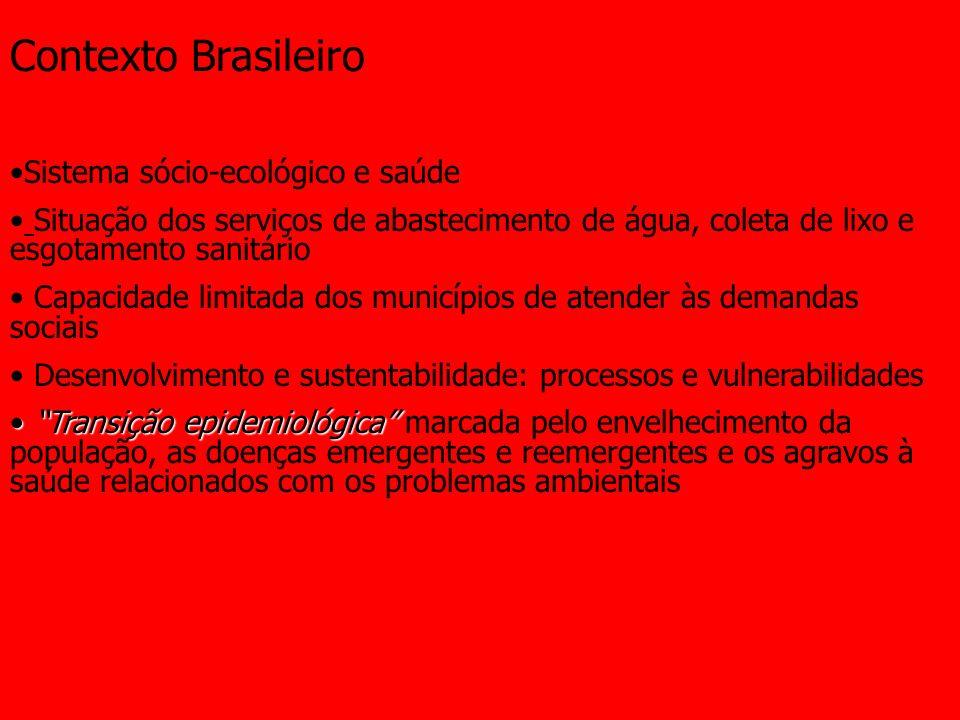 Contexto Brasileiro Sistema sócio-ecológico e saúde Situação dos serviços de abastecimento de água, coleta de lixo e esgotamento sanitário Capacidade