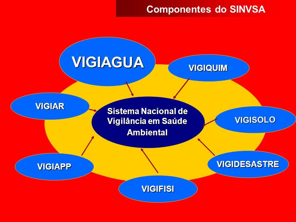 VIGIDESASTRE VIGIQUIM Sistema Nacional de Vigilância em Saúde Ambiental VIGIAGUA VIGIFISI VIGIAPP VIGISOLO VIGIAR Componentes do SINVSA