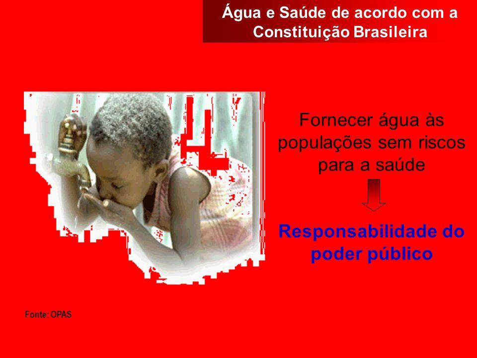 Fornecer água às populações sem riscos para a saúde Responsabilidade do poder público Fonte: OPAS Água e Saúde de acordo com a Constituição Brasileira