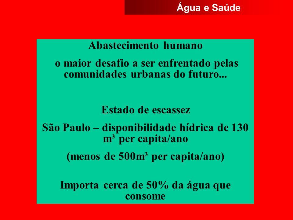 Abastecimento humano o maior desafio a ser enfrentado pelas comunidades urbanas do futuro... Estado de escassez São Paulo – disponibilidade hídrica de
