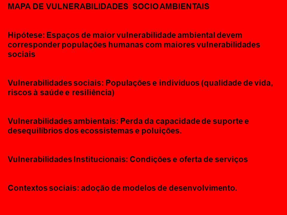 MAPA DE VULNERABILIDADES SOCIO AMBIENTAIS Hipótese: Espaços de maior vulnerabilidade ambiental devem corresponder populações humanas com maiores vulne