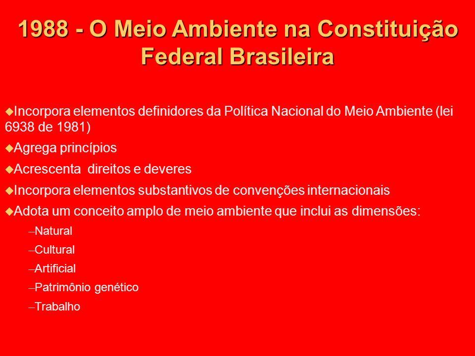 1988 - O Meio Ambiente na Constituição Federal Brasileira Incorpora elementos definidores da Política Nacional do Meio Ambiente (lei 6938 de 1981) Agr