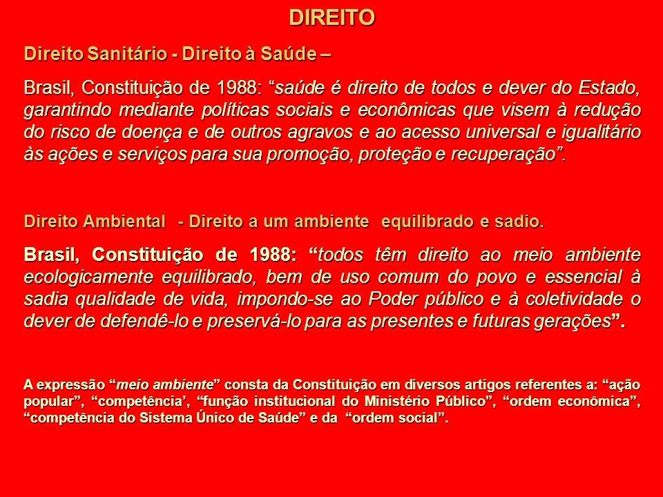 DIREITO Direito Sanitário - Direito à Saúde – Brasil, Constituição de 1988: saúde é direito de todos e dever do Estado, garantindo mediante políticas
