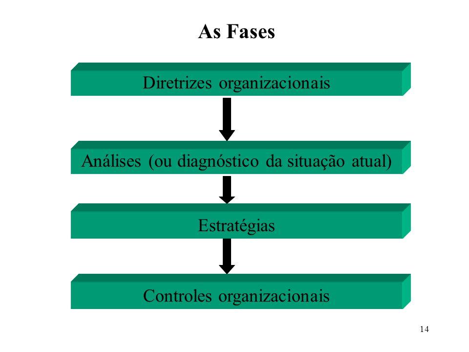 14 Diretrizes organizacionais Análises (ou diagnóstico da situação atual) Estratégias Controles organizacionais As Fases