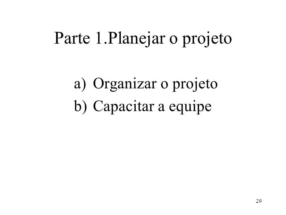 29 Parte 1.Planejar o projeto a)Organizar o projeto b)Capacitar a equipe