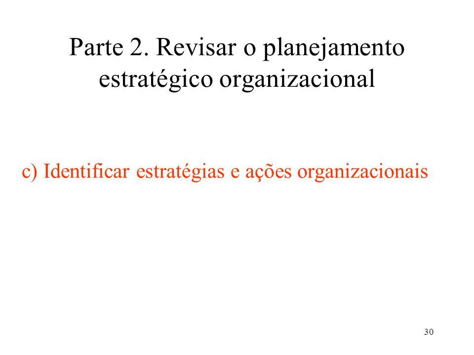 30 Parte 2. Revisar o planejamento estratégico organizacional c) Identificar estratégias e ações organizacionais