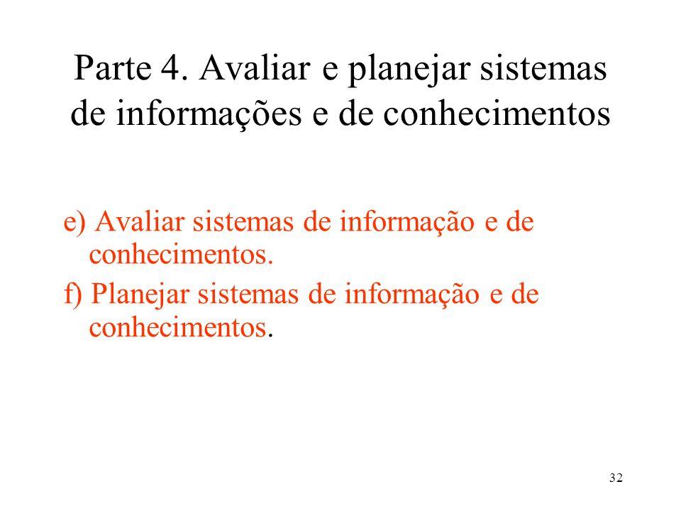 32 Parte 4. Avaliar e planejar sistemas de informações e de conhecimentos e) Avaliar sistemas de informação e de conhecimentos. f) Planejar sistemas d