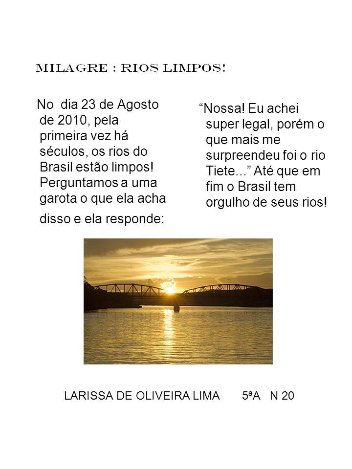No dia 23 de Agosto de 2010, pela primeira vez há séculos, os rios do Brasil estão limpos! Perguntamos a uma garota o que ela acha disso e ela respond