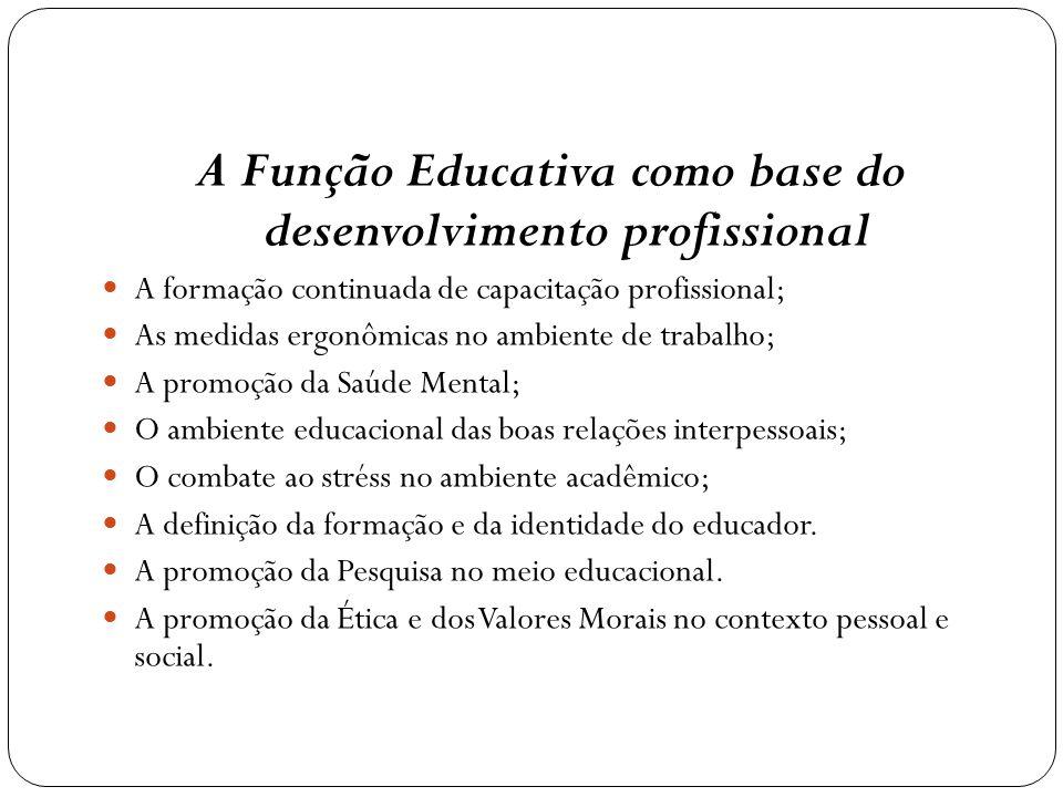 A Função Educativa como base do desenvolvimento profissional A formação continuada de capacitação profissional; As medidas ergonômicas no ambiente de