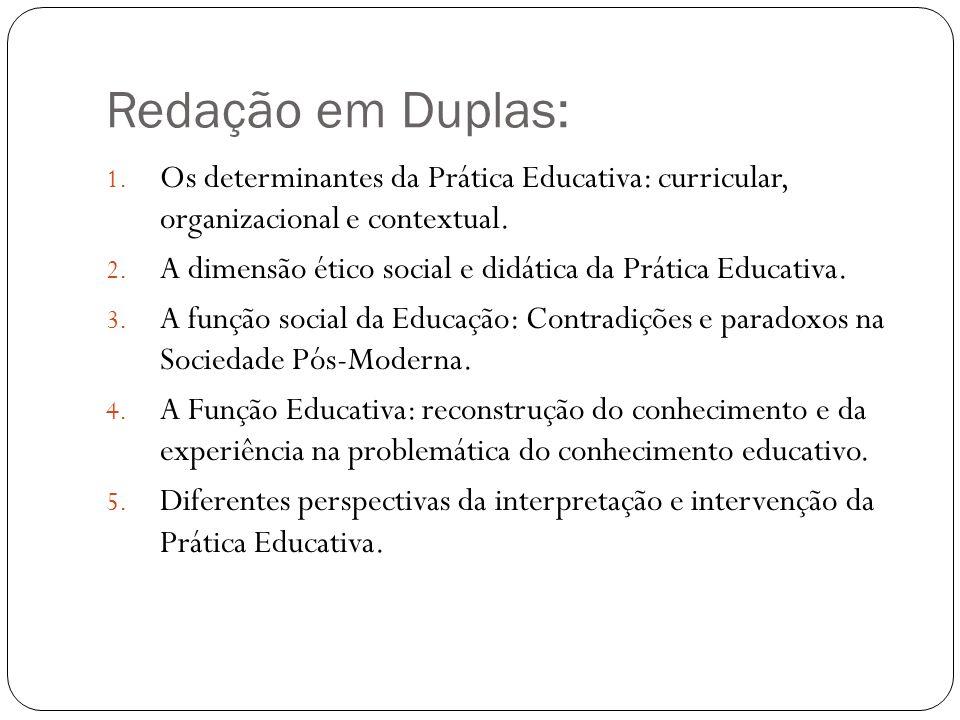 Redação em Duplas: 1. Os determinantes da Prática Educativa: curricular, organizacional e contextual. 2. A dimensão ético social e didática da Prática