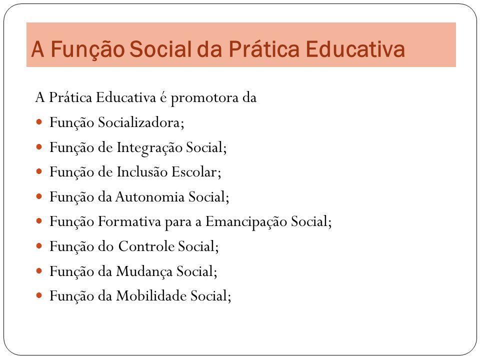 A Função Social da Prática Educativa A Prática Educativa é promotora da Função Socializadora; Função de Integração Social; Função de Inclusão Escolar;