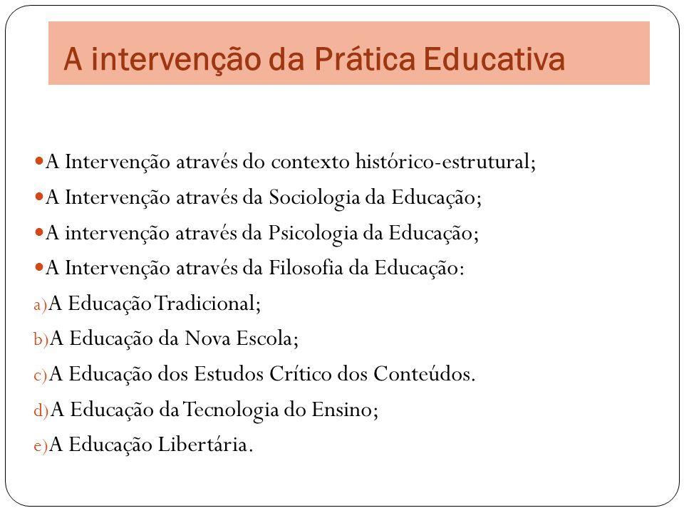 A intervenção da Prática Educativa A Intervenção através do contexto histórico-estrutural; A Intervenção através da Sociologia da Educação; A interven