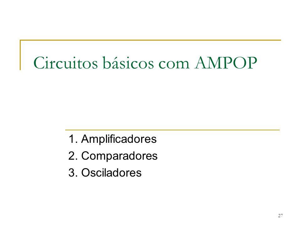 Circuitos básicos com AMPOP 1. Amplificadores 2. Comparadores 3. Osciladores 27
