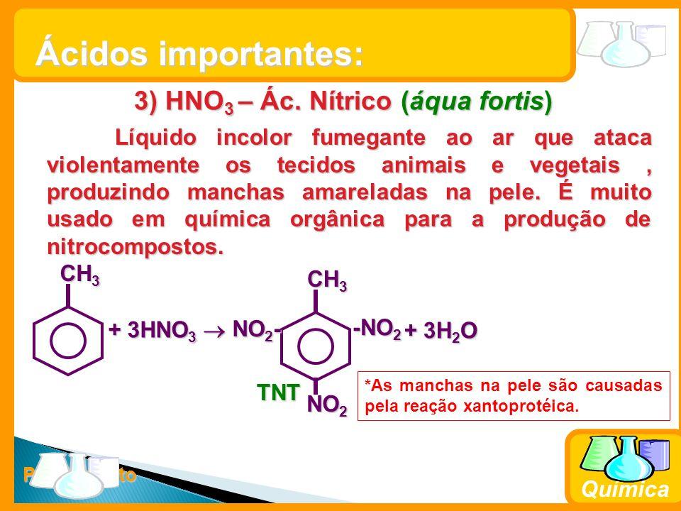 Prof. Busato Química 3) HNO 3 – Ác. Nítrico (áqua fortis) Líquido incolor fumegante ao ar que ataca violentamente os tecidos animais e vegetais, produ