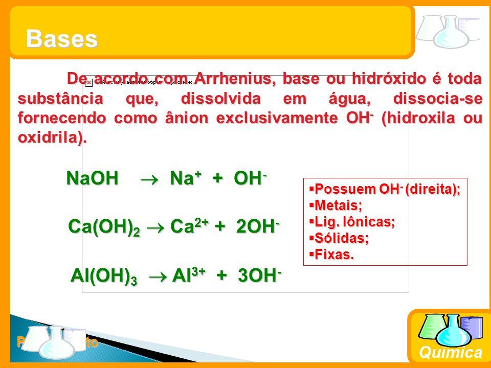 Prof. Busato Química Bases De acordo com Arrhenius, base ou hidróxido é toda substância que, dissolvida em água, dissocia-se fornecendo como ânion exc