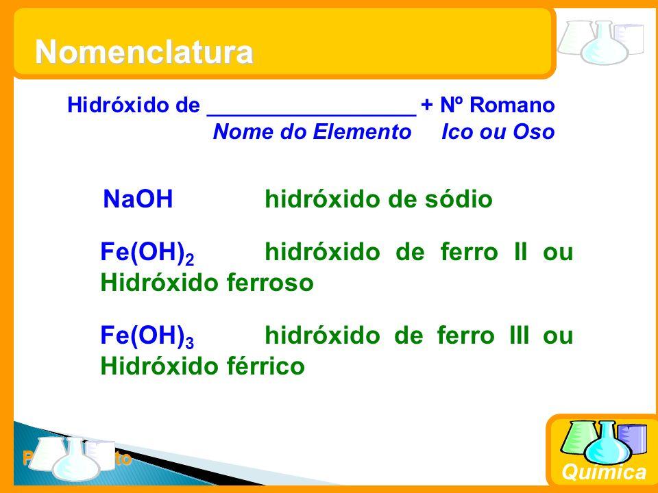 Prof. Busato Química Nomenclatura Hidróxido de _________________ + Nº Romano Nome do Elemento Ico ou Oso NaOHhidróxido de sódio Fe(OH) 2 hidróxido de