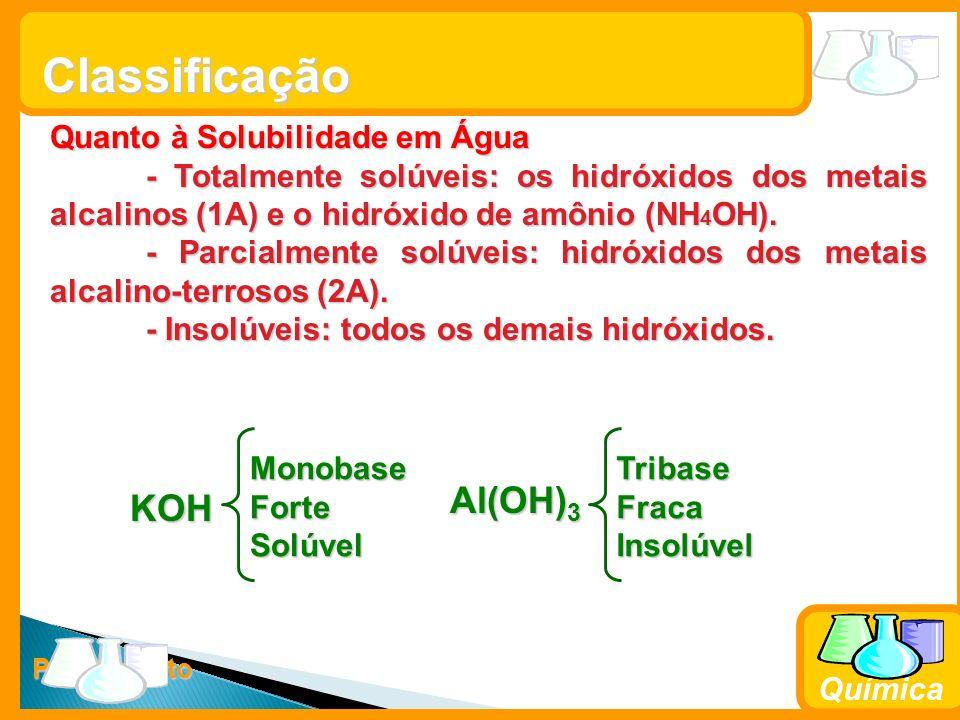 Prof. Busato Química Classificação Quanto à Solubilidade em Água - Totalmente solúveis: os hidróxidos dos metais alcalinos (1A) e o hidróxido de amôni