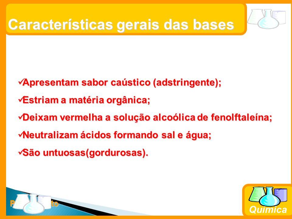 Prof. Busato Química Características gerais das bases Apresentam sabor caústico (adstringente); Apresentam sabor caústico (adstringente); Estriam a ma