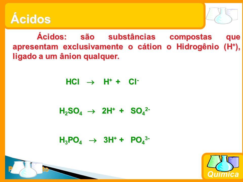 Prof. Busato Química Ácidos Ácidos: são substâncias compostas que apresentam exclusivamente o cátion o Hidrogênio (H + ), ligado a um ânion qualquer.