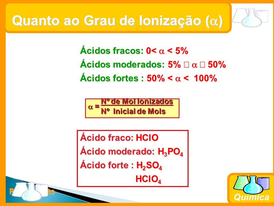 Prof. Busato Química Quanto ao Grau de Ionização ( ) Ácidos fracos: 0< < 5% Ácidos moderados: 5% 50% Ácidos fortes : 50% < < 100% Nº de Mol Ionizados