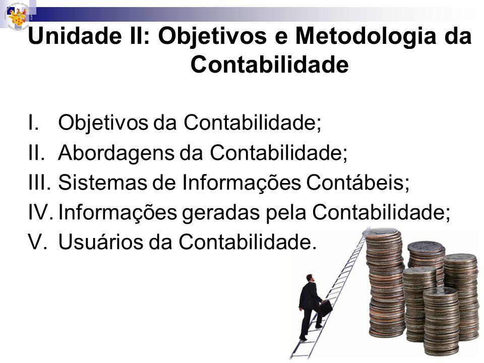Objetivos da Contabilidade ObjetoPatrimônio Bens, direitos, obrigações.