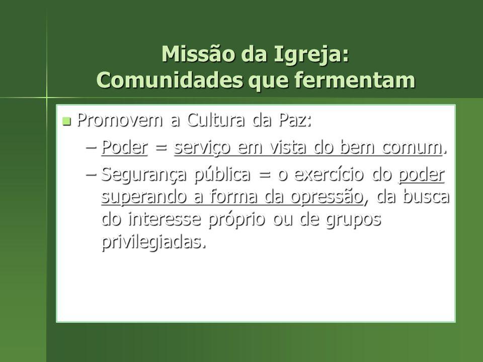 Missão da Igreja: Comunidades que fermentam Promovem a Cultura da Paz: Promovem a Cultura da Paz: –Poder = serviço em vista do bem comum. –Segurança p