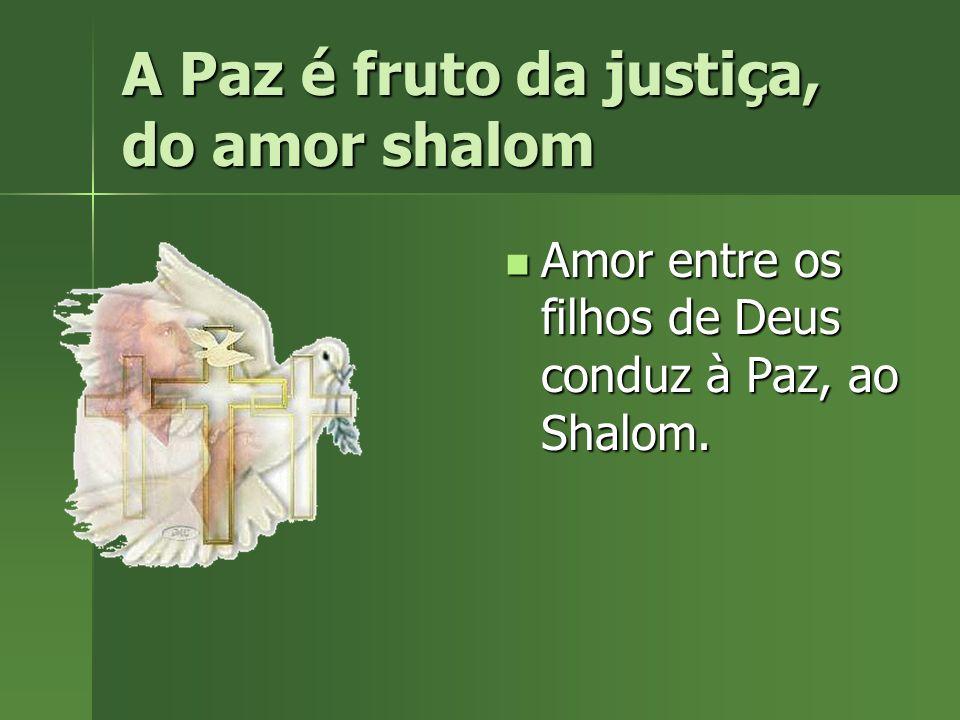 A Paz é fruto da justiça, do amor shalom Amor entre os filhos de Deus conduz à Paz, ao Shalom. Amor entre os filhos de Deus conduz à Paz, ao Shalom.